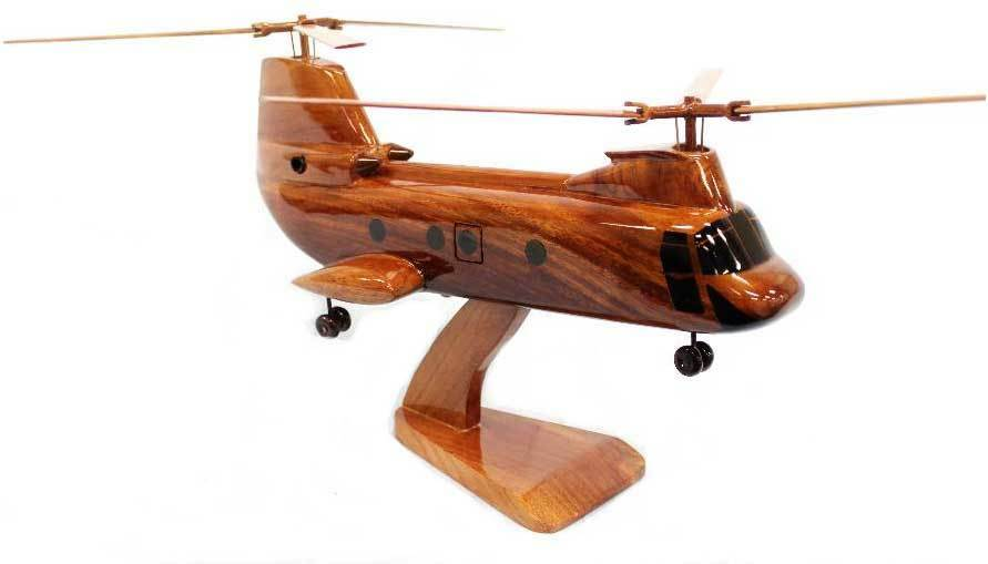 CH-46 Sea Knight Military Helicopter Premium Mahogany Wood Display Desk Model