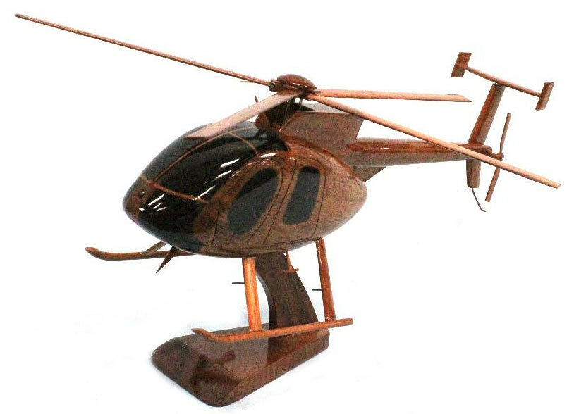 MD530 Cayuse Helicopter Beautiful Premium Mahogany Wood Display Desk Model