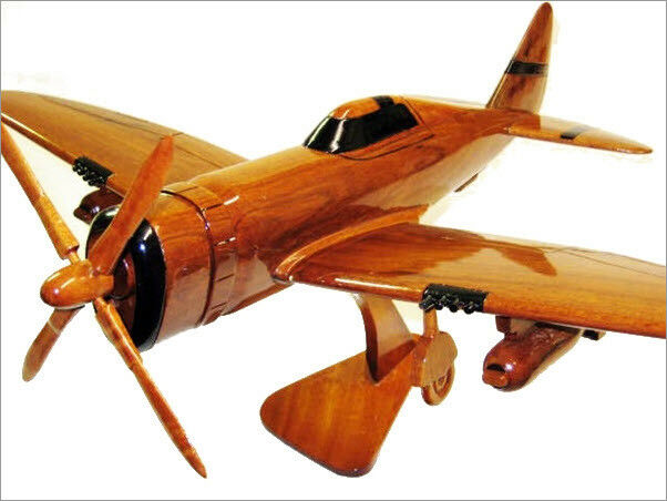 P-47 Thunderbolt Handcrafted Natural Mahogany Premium Wood Desk Model