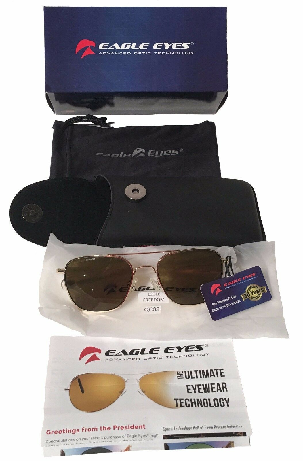 Eagle Eyes Innovative Optic Technology Aviator Sunglasses Pilots + USAF USM USN