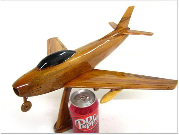F-86 Sabre Jet Fighter Handcrafted Natural Mahogany Premium Wood Desk Model