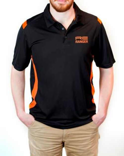 Randolph Engineering Ranger Technical Polo For Men Black with Orange RE Logo