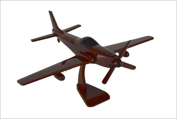 P-51 Mustang Handcrafted Natural Mahogany Premium Wood Desk Model