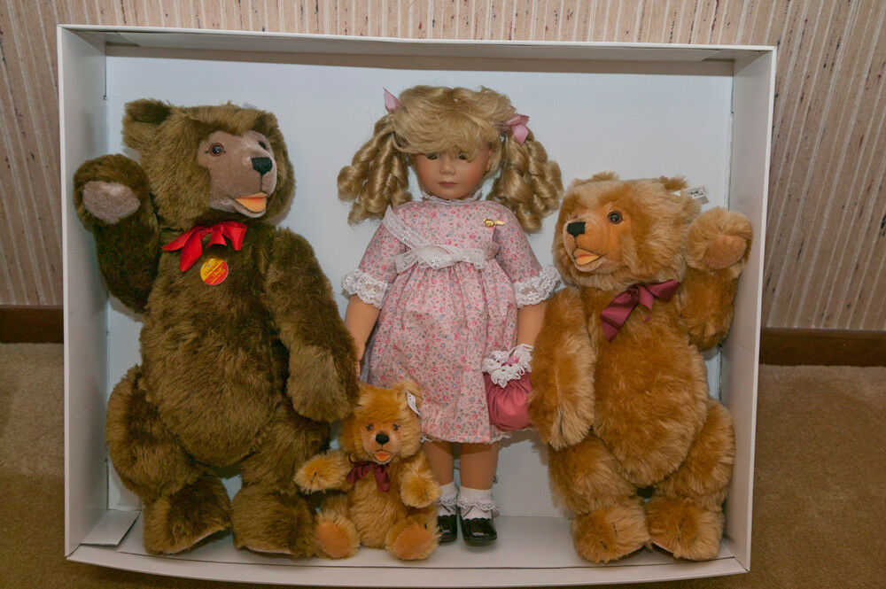 "Margarete Steiff Doll ""Goldilocks and Three Bears"" Set No. 1298/1500 Like New"