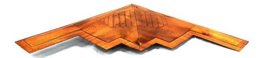 "B-2 ""Spirit"" Highly Detailed Handcrafted Mahogany Wood Display Desk Model"