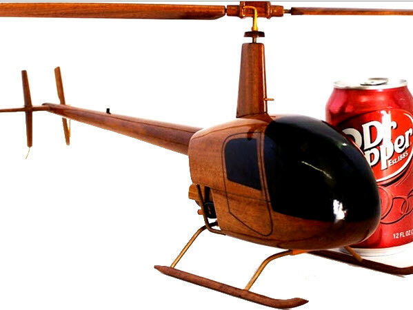 Robinson 22 Helicopter Handcrafted Natural Mahogany Premium Wood Desk Model