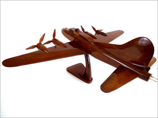 B-17 Flying Fortress Bomber Handcrafted Natural Premium Wood Desk Model