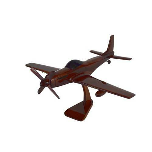 "P-51 Mustang Beautiful Carved Mahogany Wood 1:23 18"" Wide X 17"" Long with Stand"
