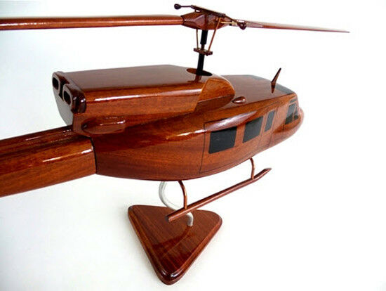 Bell 212/UH-1N Helicopter Handcrafted Natural Premium Wood Desk Model