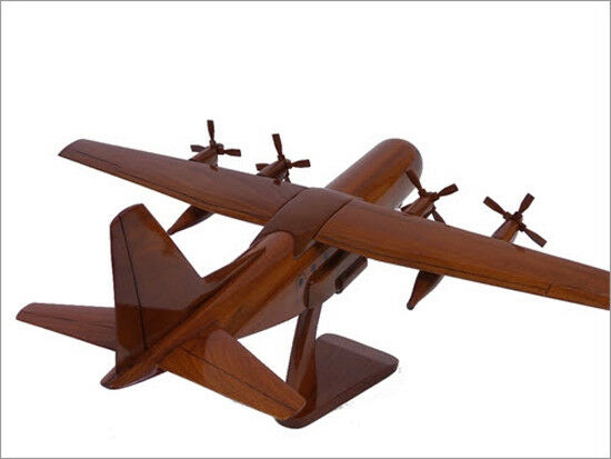 C-130 Hercules 4 Bladed Props Handcrafted Natural Premium Wood Desk Model