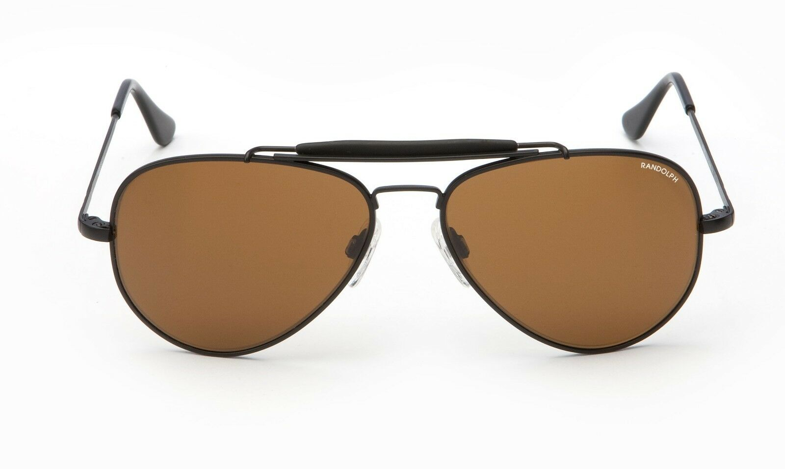 Randolph 57mm Sportsman Black Frame Skull Temple Tan Non-Polarized Sunglasses