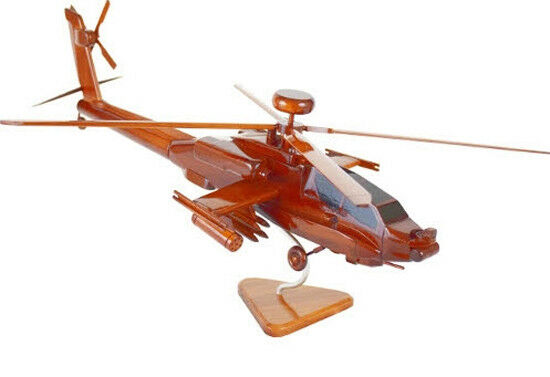 AH-64 Apache Helicopter Handcrafted Natural Mahogany Premium Wood Desk Model