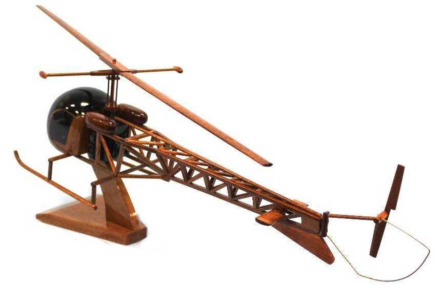 Bell 47 OH-13 Sioux Helicopter Premium Mahogany Wood Display Desk Model