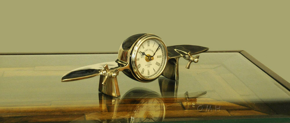 "Aeroplane Table Clock 13.5"" Long X 3"" Wide X 4.5"" High"