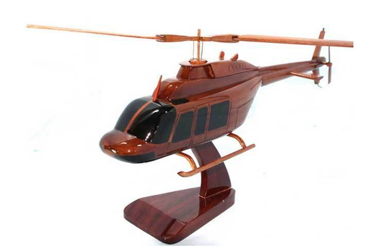 "Bell 206L ""Long Ranger"" Helicopter Handcrafted Mahogany Wood Display Desk Model"