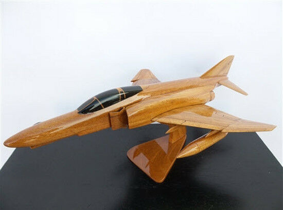 F-4 Phantom Fighter Jet Handcrafted Natural Mahogany Premium Wood Desk Model