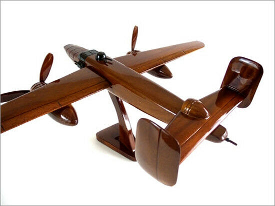 B-25 Mitchell WWII Bomber Handcrafted Natural Premium Wood Desk Model