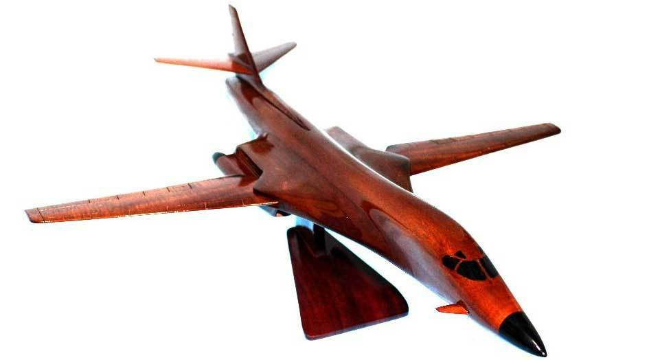 "B-1 ""Lancer"" Highly Detailed Handcrafted Mahogany Wood Display Desk Model"