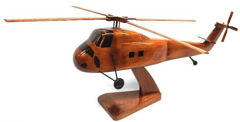 CH-34 Choctaw Military Helicopter Premium Mahogany Wood Display Desk Model