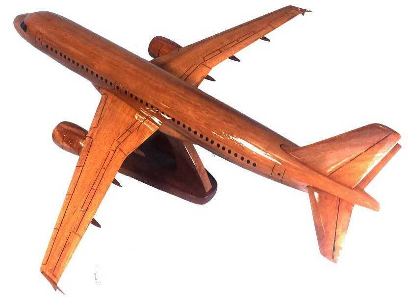 Airbus A-320 Handcrafted Natural Mahogany Premium Wood Display Desk Model