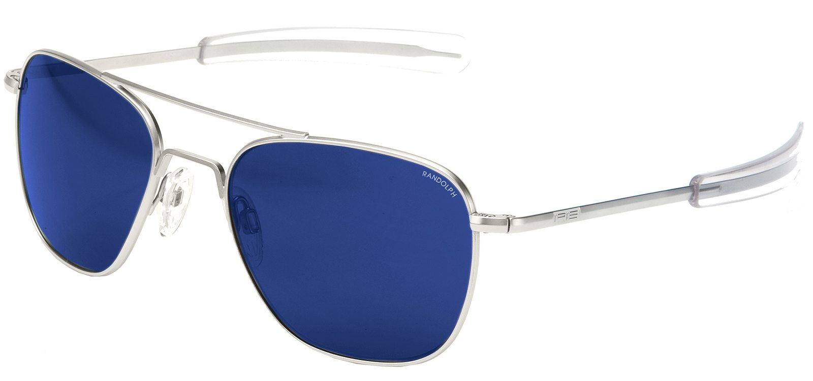New Randolph Aviator Sunglasses Matte Chrome Frame Blue Sky Flash Mirror Lenses