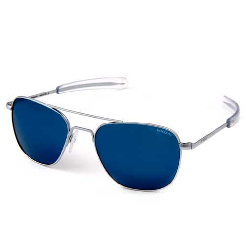 Randolph Aviator 55mm Matte Chrome Frame Bayonet Temple Blue Sky Flash Mirror Lens Sunglasses