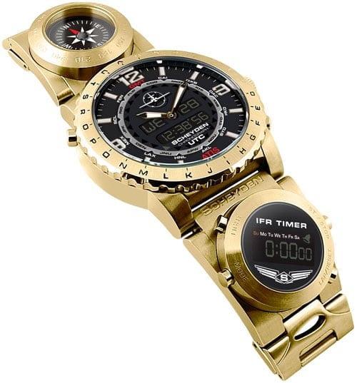 Scheyden Swiss Gold Steam Guage Aviator Watch