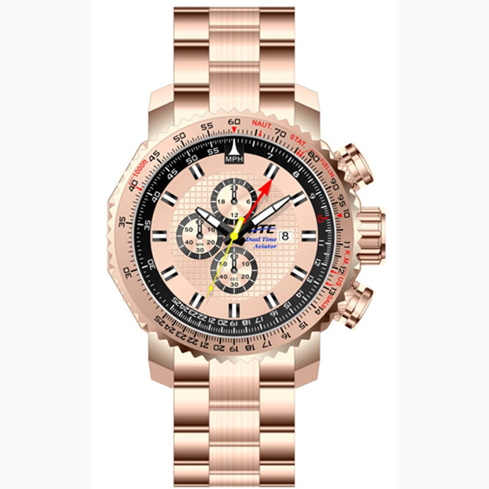 atc3500g Rose Gold Pilot Aviator Dual Time Chronograph Watch