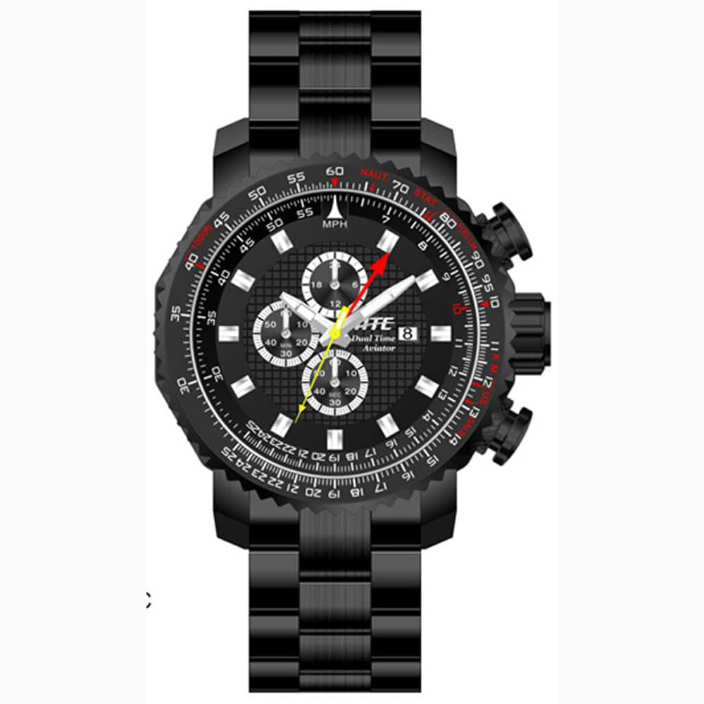atc3500k Aviator Pilot Black Ion Dual Time E6B Watch