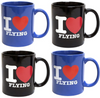Coffee Mug Set - I Love Flying - 2 of Each Color (Buy 3, Get 1 FREE)