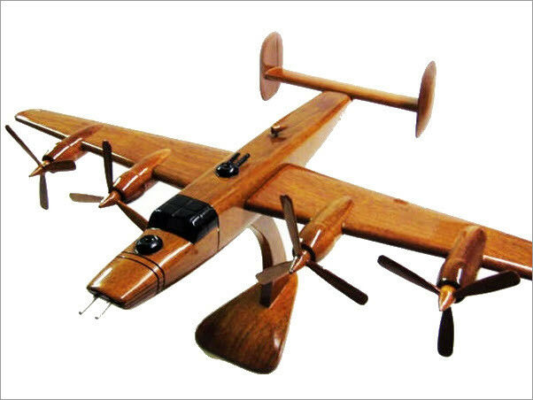 B-24 Liberator Handcrafted Natural Mahogany Premium Wood Desk Model