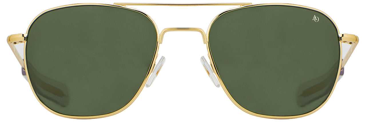 AO Original Pilot 23K Gold EP Bayonet Green Glass Non-Polarized Sunglasses