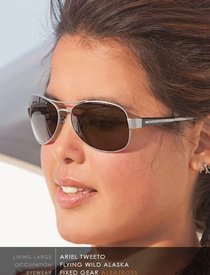Aerial Tweeto of Flying Wild Alaska wearing Scheyden Albatross Sunglasses