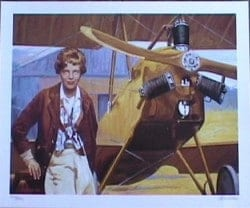 A Sketch Of Amelia Earhart And Her Kinner Airster