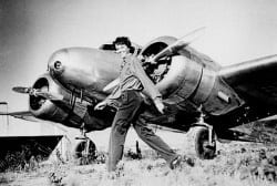 Amelia Earhart and her twin engine Lockheed Electra 10E in 1937