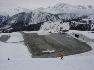 Courchevel Airport in France in Winter
