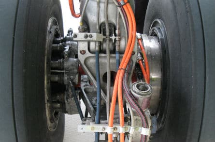 Electric Motor On Wheel Axle Of Airbus Electric Taxi Demonstration