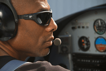 FlyingEyes Sunglasses With Pilot Wearing Aviation Headset