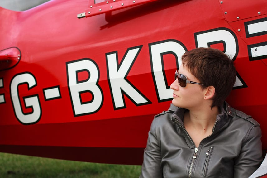 Female Pilot Wearing Scheyden C-130 Sunglasses