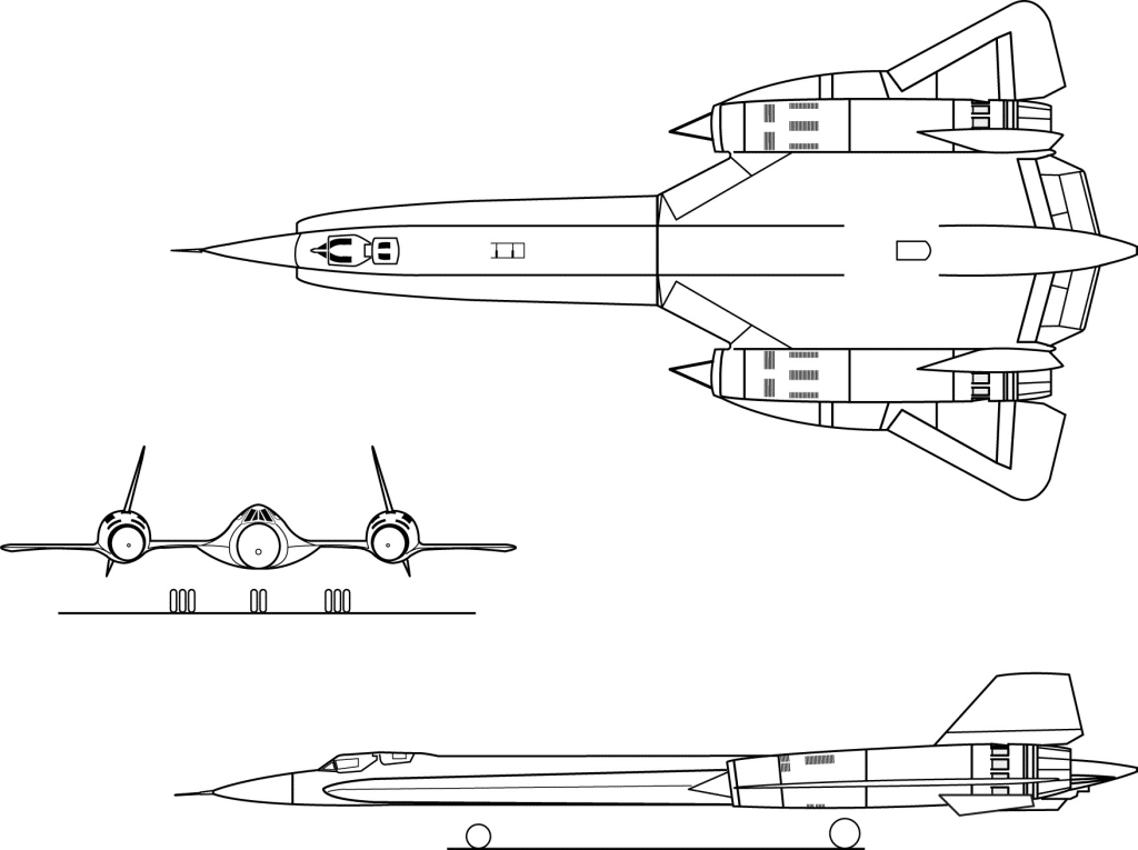 3 View Drawing Of the Proposed A-12 Stealth Aircraft