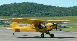 Piper Cub Taxiing Out For Takeoff