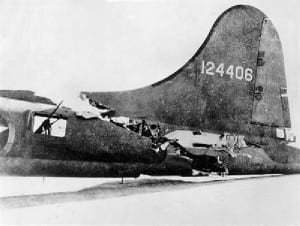"What Remained Of  The Tail Of The B-17 Flying Fortress ""All American"" After Landing"