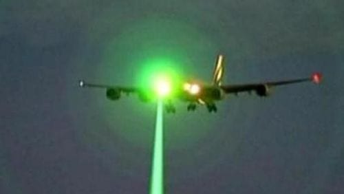 Illustration Of A Laser Attack On An Airliner