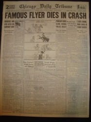 Newspaper Announcement of Jimme Wedell's Crash