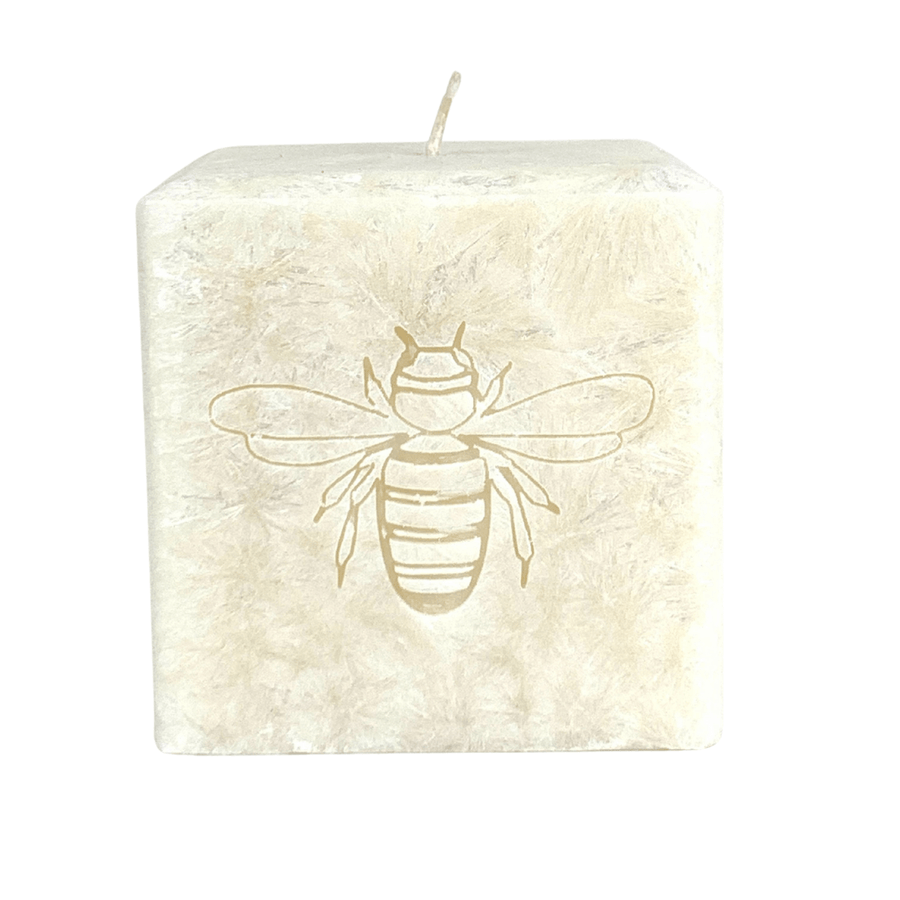 Monogrammed luxury palm wax candle with bee carved into wax. Feautures a unbleached 100% cotton wick with a champagne colored wax with a naturally crystallized exterior. Made in USA