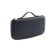 Navy clutch with Genuine Nappa Leather interior and exterior with an injection molded plastic shell to help retain shape and add protection; gold colored zipper wraps all the way around the clutch; Gold colored engraved zipper tag. Stylish gold pen included. Phone pocket, lipstick holder, and place for money.