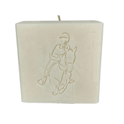 Monogrammed soy wax candle with unbleached 100% cotton wick featuring a warm ivory color