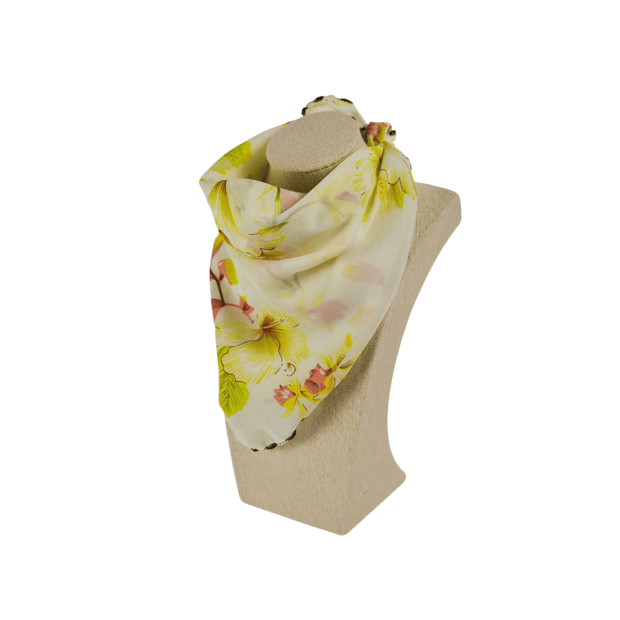 yellow floral fashion scarf