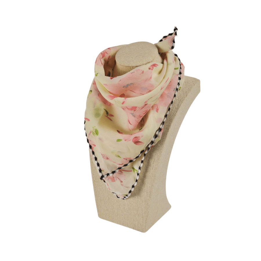 pink and green floral fashion scarf