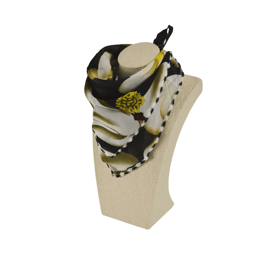 black, yellow, and white fashion scarf